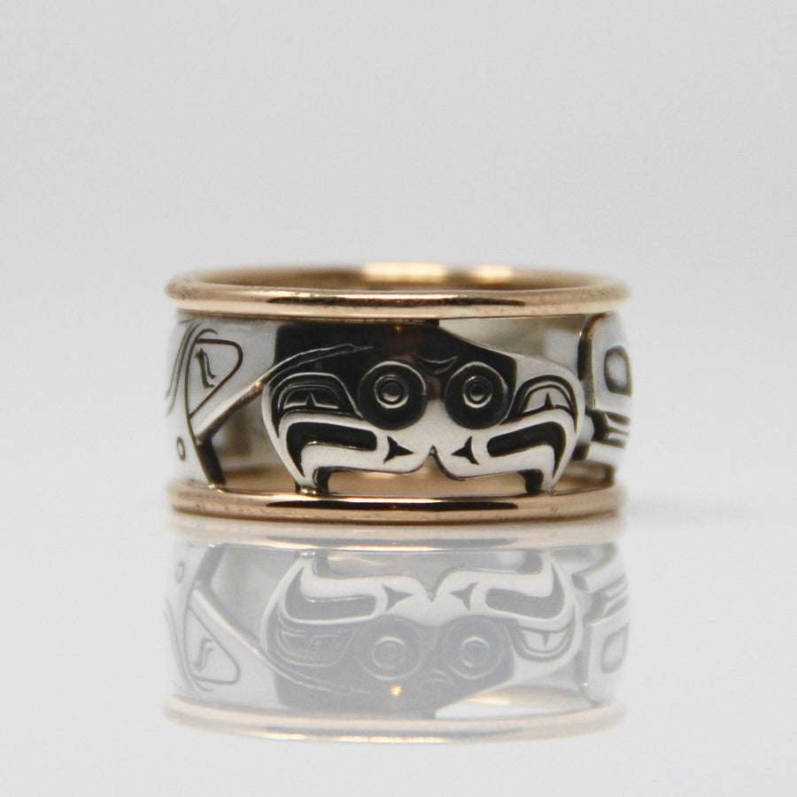 Silver & Gold Haida Orca Killer Whale Bentley Ring