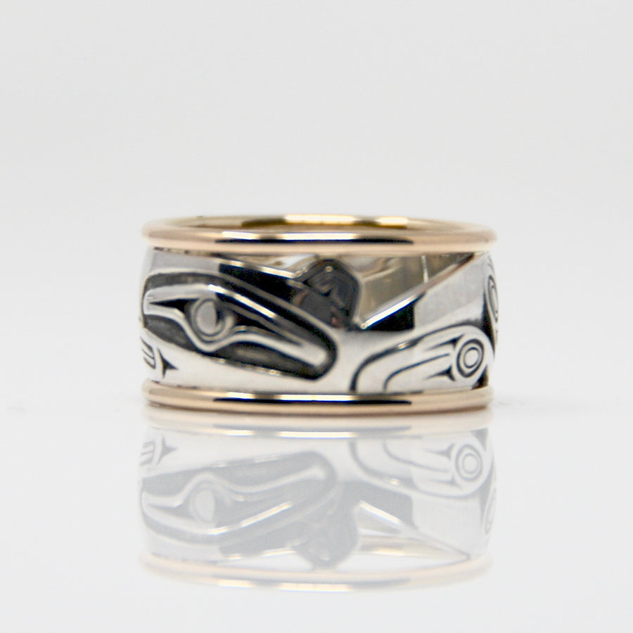 14K Gold & Silver Sea Wolf Ring