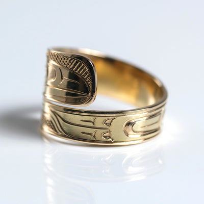 14K Yellow Gold Hand Carved Custom Raven Wrap Ring by Haida Indigenous Canadian artist Ernest Swanson sold by Crystal Cabin.