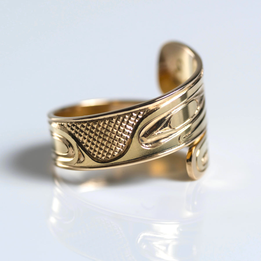 Wide Gold Raven Wrap Ring