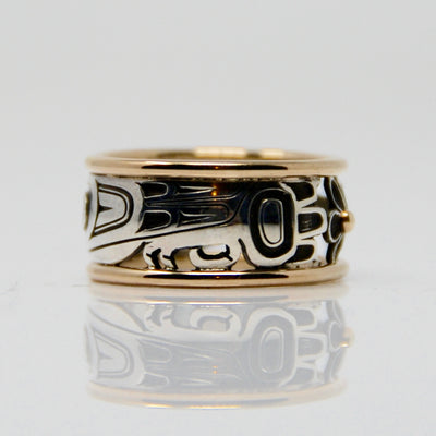 Gold & Silver Haida Hummingbird Bentley Ring