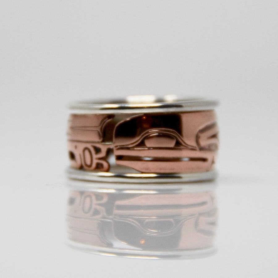 Copper & Silver Raven Ring