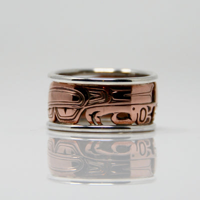 Copper & Silver Haida Raven Bentley Ring