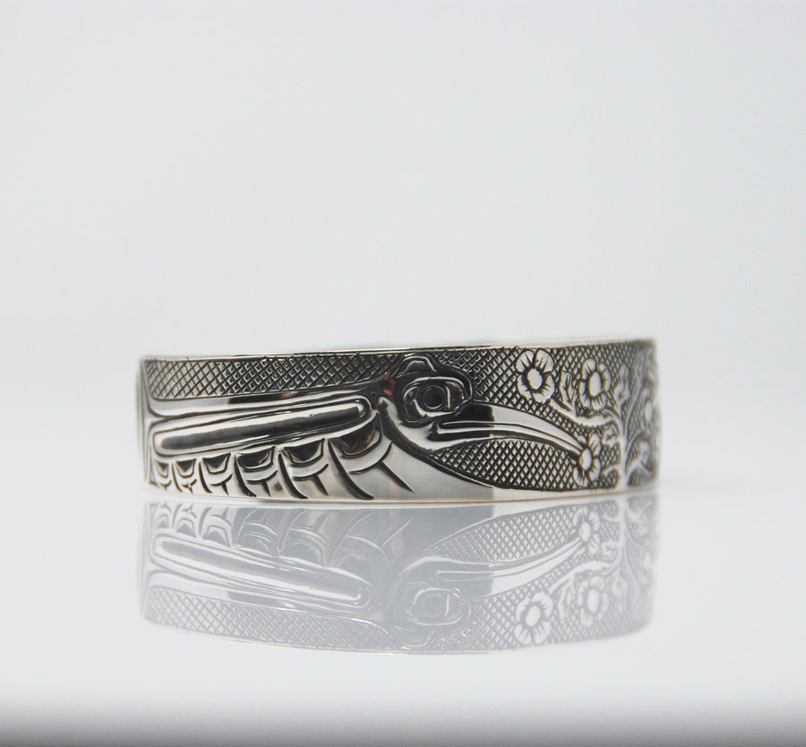 Silver Haida Hummingbird with Flowers Bracelet