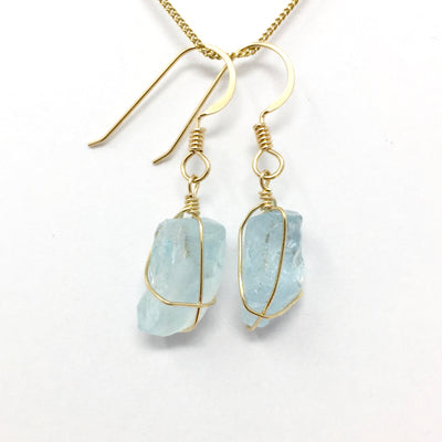 Aquamarine Gold Wire Wrap Earrings
