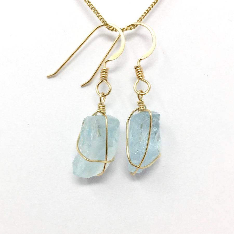 Aquamarine with Gold Earrings
