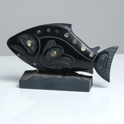 Argillite Salmon & Eagle Carving