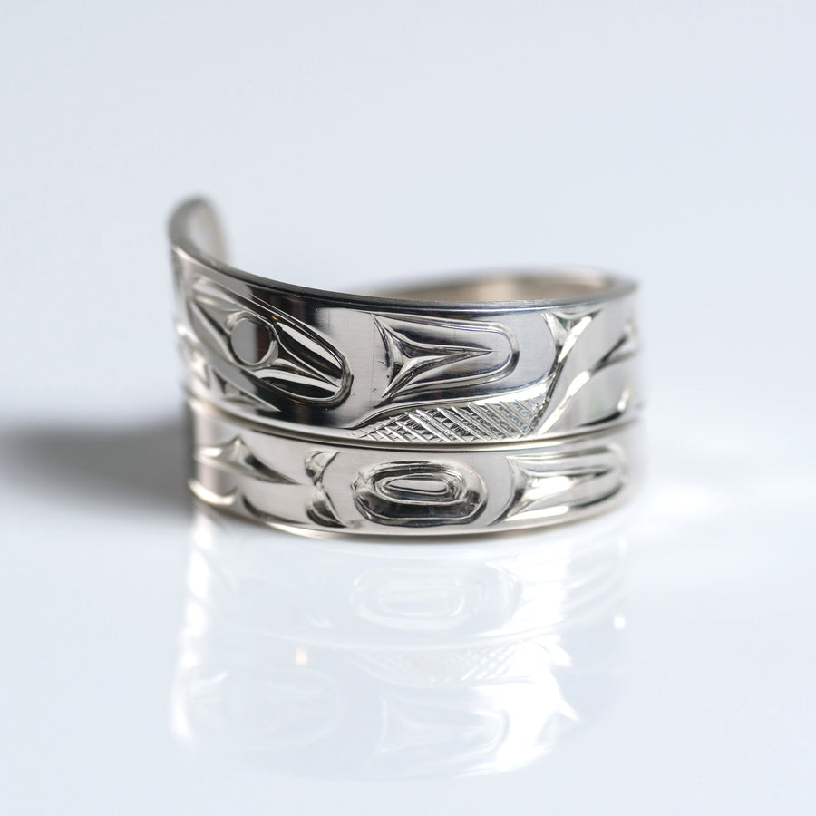 Sterling Silver Haida Bear Indigenous Canadian Hand Engraved Custom Wrap Ring by Haida artist James Sawyer sold by Crystal Cabin.
