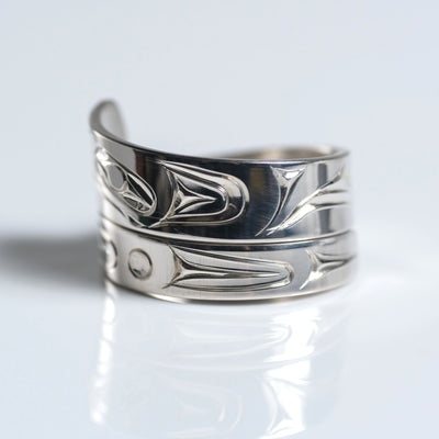 Sterling Silver Haida Eagle Indigenous Canadian Hand Engraved Custom Wrap Ring by Haida artist James Sawyer sold by Crystal Cabin.