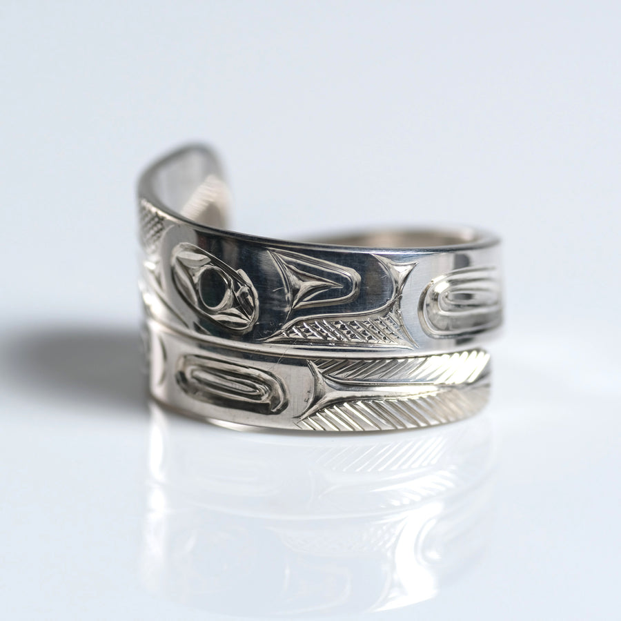 Sterling Silver Haida Hummingbird Indigenous Canadian Hand Engraved Custom Wrap Ring by Haida artist James Sawyer sold by Crystal Cabin.