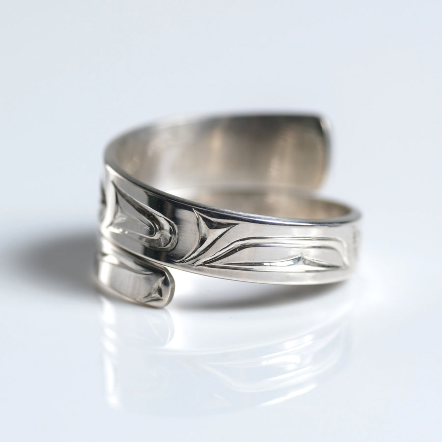 Sterling Silver Haida Killer Whale Orca Indigenous Canadian Hand Engraved Custom Wrap Ring by Haida artist James Sawyer sold by Crystal Cabin.