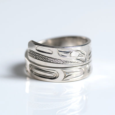 Sterling Silver Haida Raven Indigenous Canadian Hand Engraved Custom Wrap Ring by Haida artist James Sawyer sold by Crystal Cabin.