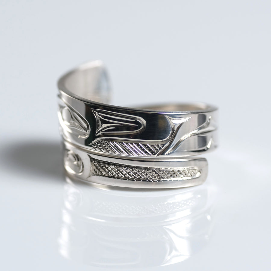 Sterling Silver Haida Wolf Indigenous Canadian Hand Engraved Custom Wrap Ring by Haida artist James Sawyer sold by Crystal Cabin.