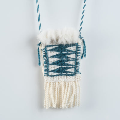 Raven's Tail Medicine Pouch Wool Weaving with Suede, Ermine Fur & Abalone by Haida Indigenous Northwest Coast Native Artist Carol Crosby sold by Crystal Cabin.