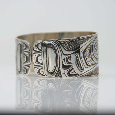 Silver Haida Raven Steals the Moon Bracelet