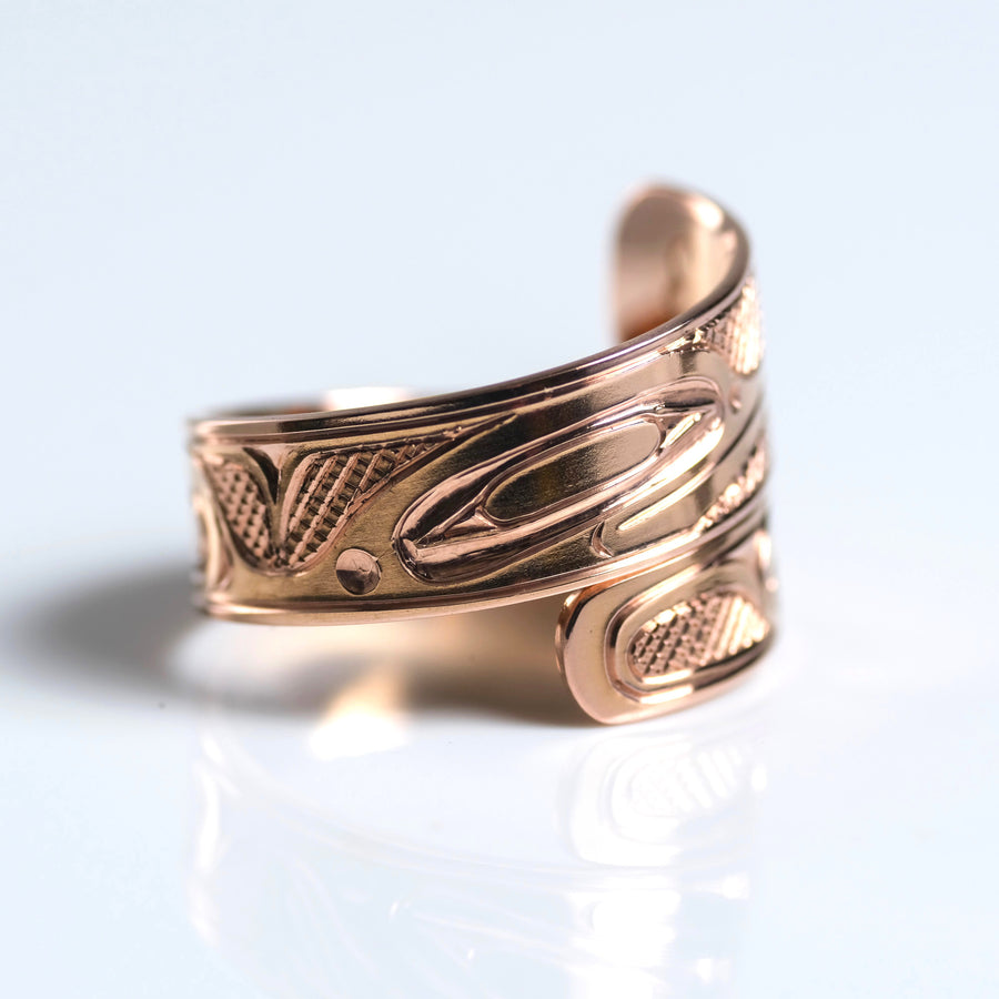 14K Rose Gold Hand Carved Custom Hummingbird Wrap Ring by Haida Indigenous Canadian artist Ernest Swanson sold by Crystal Cabin.