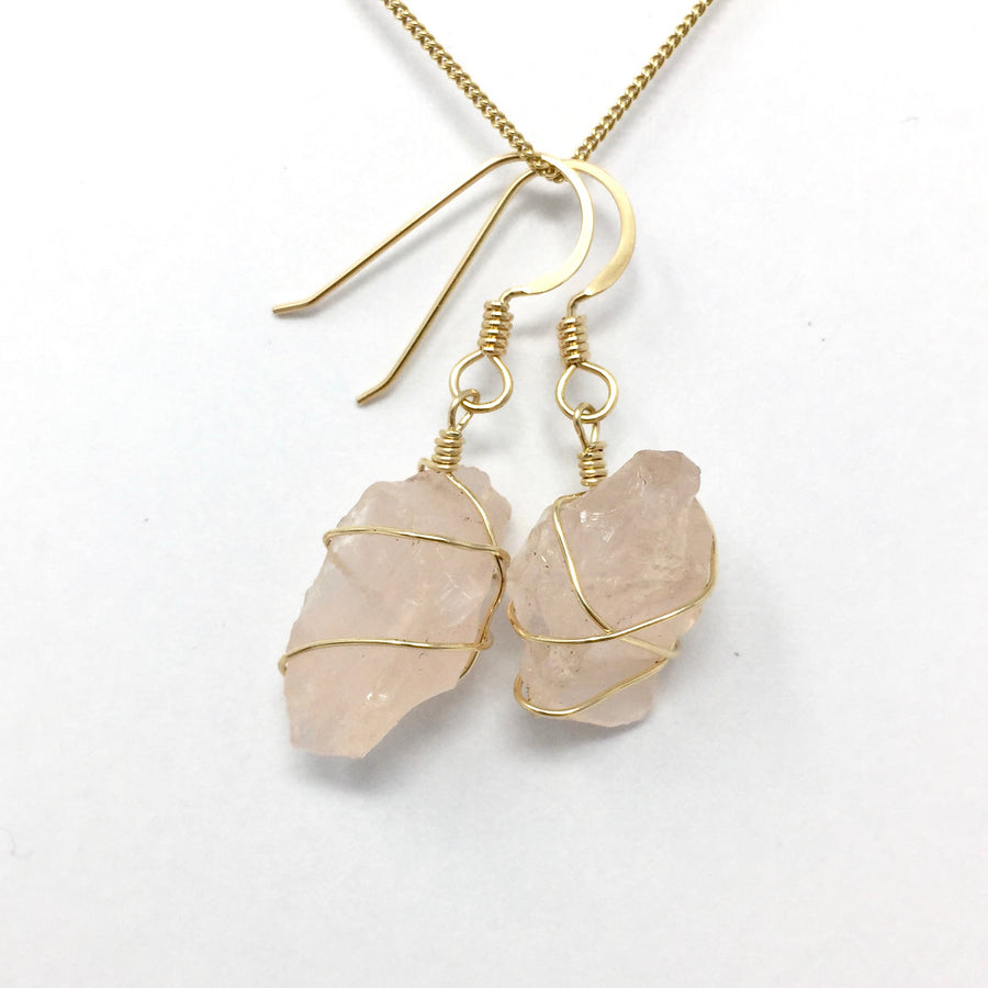 Rose Quartz with Gold Wire Wrap Earrings