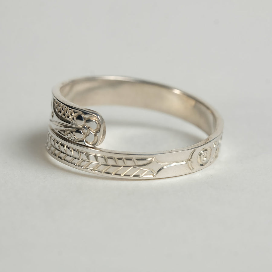 Silver Haida Hummingbird Wrap Ring