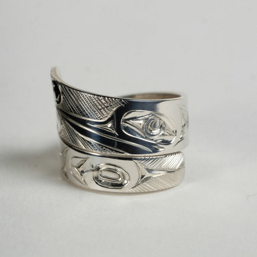 Wide Silver Hummingbird with Flower Wrap Ring