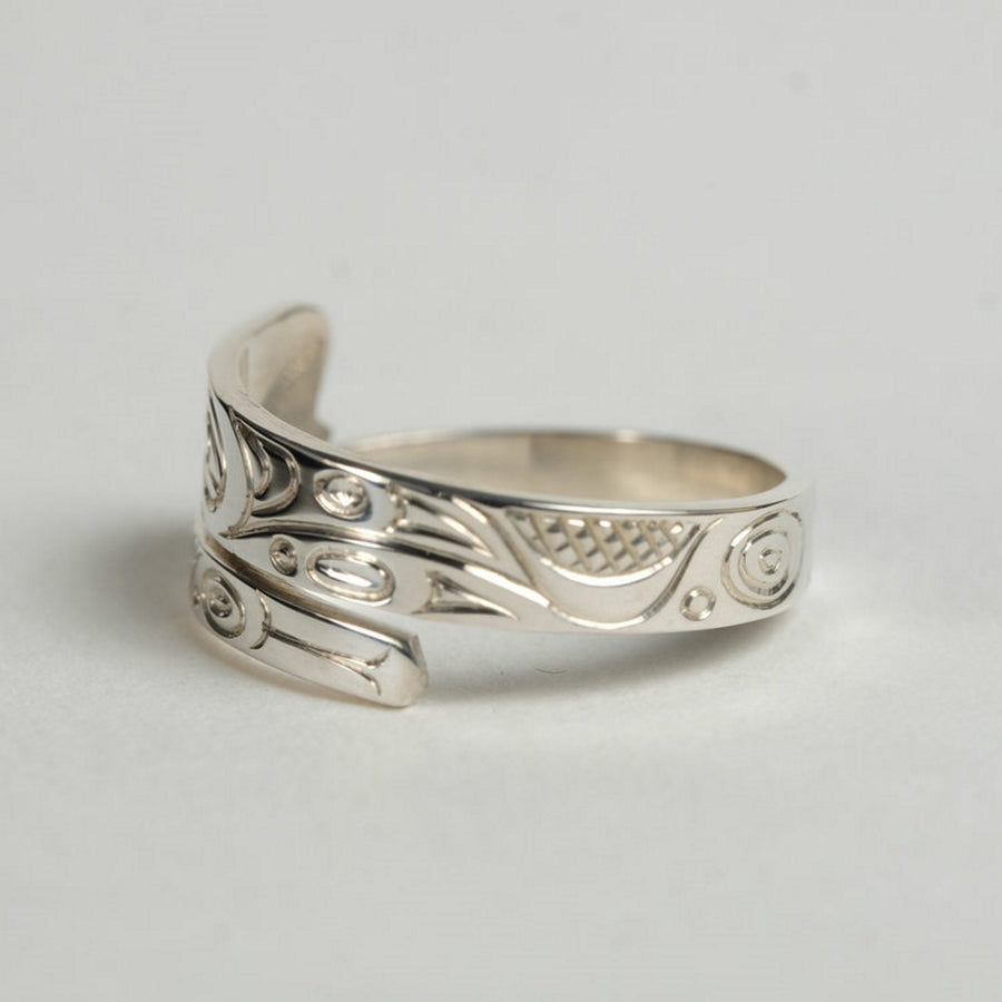 Narrow Silver Killer Whale Orca Wrap Ring