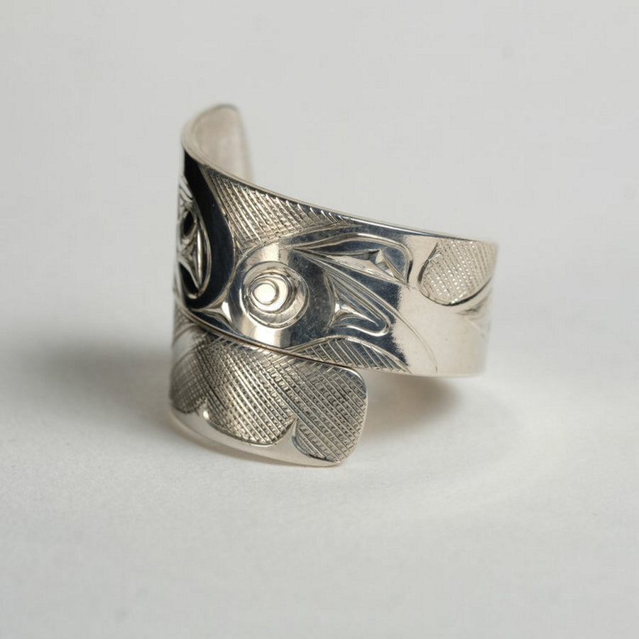 Silver Haida Killer Whale Orca Wrap Ring