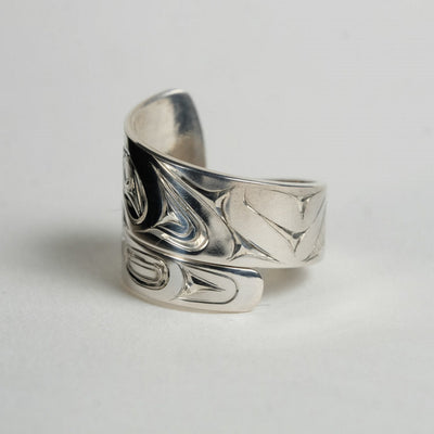 Silver Haida Raven Steals the Light Wrap Ring