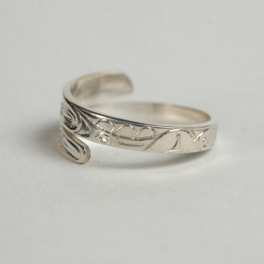 Narrow Silver Raven Wrap Ring