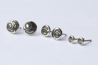 Silver Haida Salmon Egg Stud Earrings
