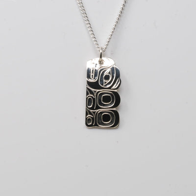 Silver Haida Bear Necklace Pendant