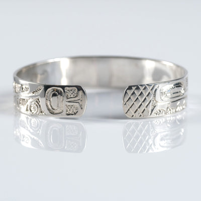Sterling Silver Haida Canadian Indigenous Native Eagle Beaver Cuff Bracelet by Haida artist Nelson Cross sold by Crystal Cabin.