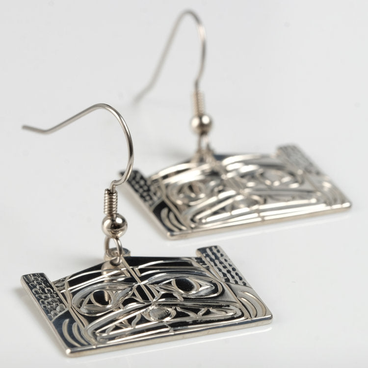 Silver Haida Dogfish Longhouse Earrings