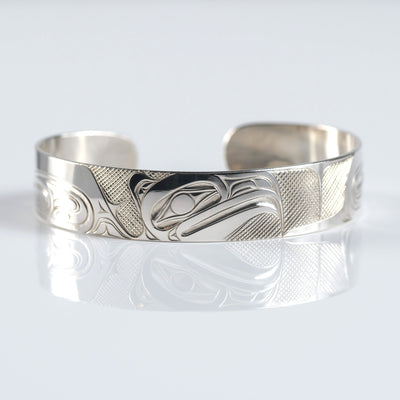 Silver Haida Eagle Bracelet Indigenous Native Canadian by David Jones sold by Crystal Cabin