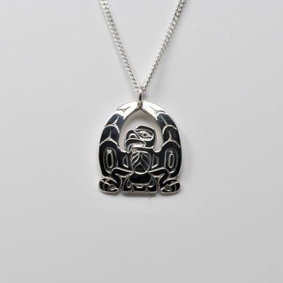 Silver Haida Eagle Necklace Pendant