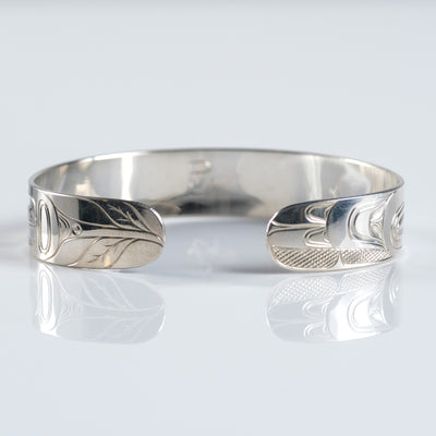 Silver Haida Indigenous Native Canadian Hummingbird Bracelet by Haida artist David Jones sold by Crystal Cabin.