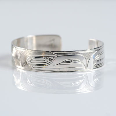 Sterling Silver Haida Canadian Indigenous Native Raven Cuff Bracelet by Haida tattoo artist Gregory Williams sold by Crystal Cabin.