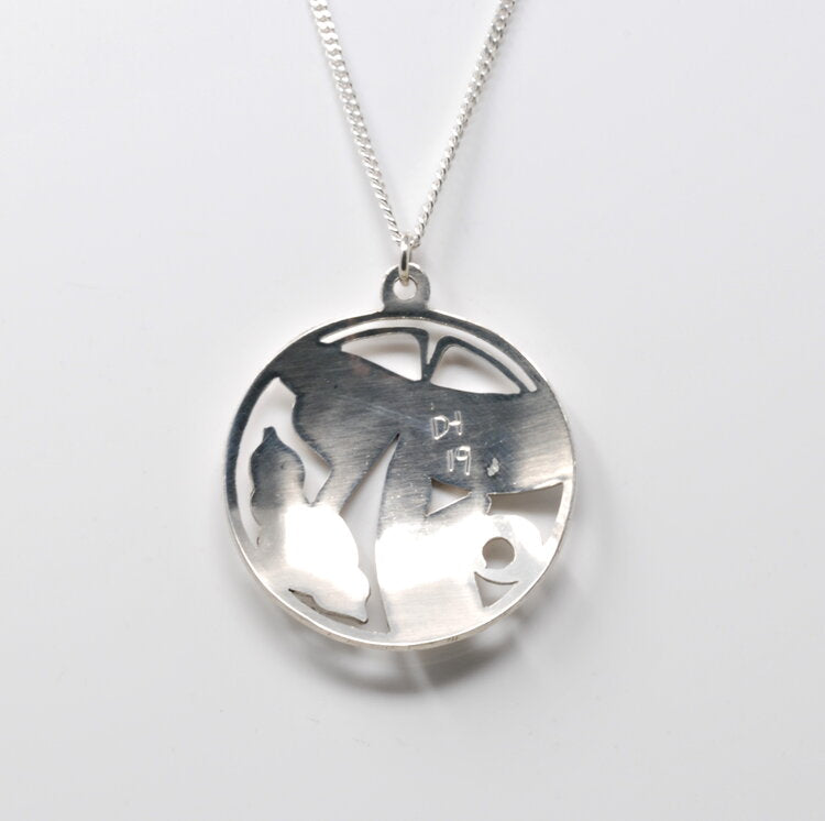 Silver Round Hummingbird Necklace