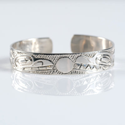 Sterling Silver Haida Canadian Indigenous Thunderbird Killer Whale Orca Cuff Bracelet by Haida artist Nelson Cross sold by Crystal Cabin