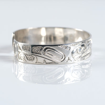 Sterling Silver Haida Canadian Indigenous Eagle & Wolf Cuff Bracelet by Haida artist Nelson Cross sold by Crystal Cabin