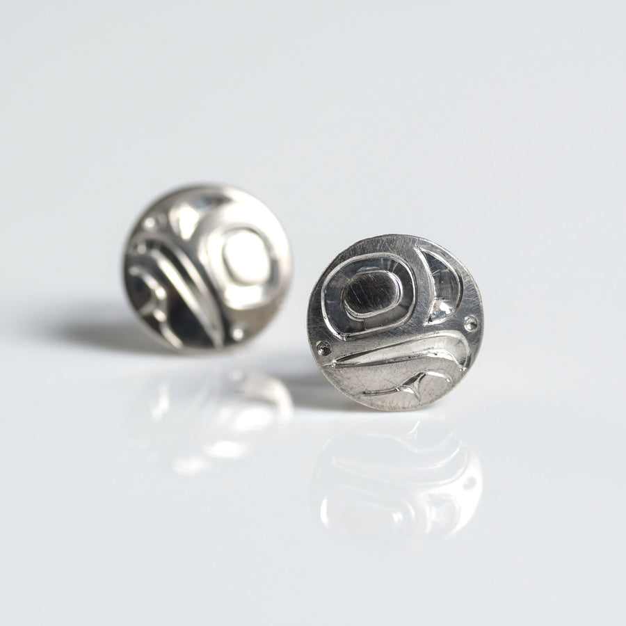 Silver Haida Eagle Stud Earrings Indigenous Canadian by Haida artist Alfred Davidson sold by Crystal Cabin.