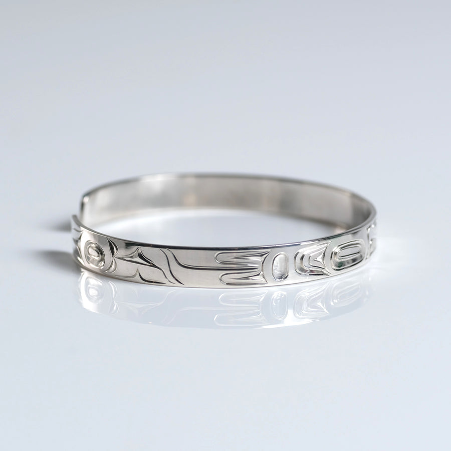 Silver Haida Eagle Bracelet Indigenous Canadian by James Sawyer sold by Crystal Cabin