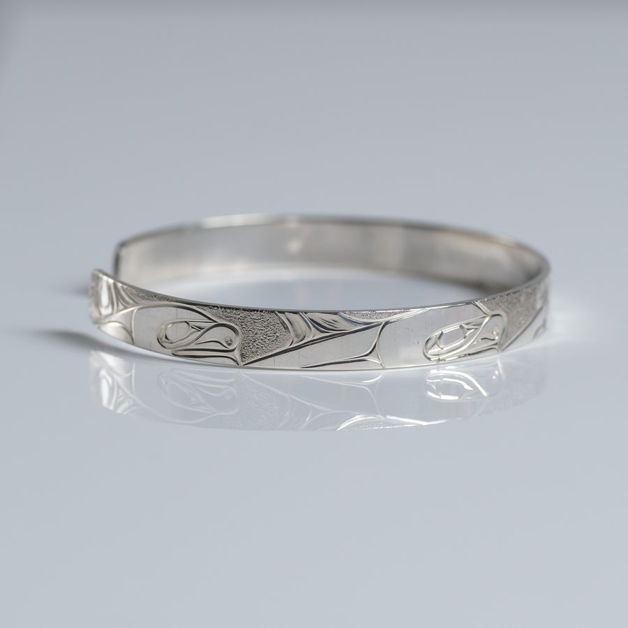 Silver Haida Killer Whale Orca Bracelet Indigenous Canadian