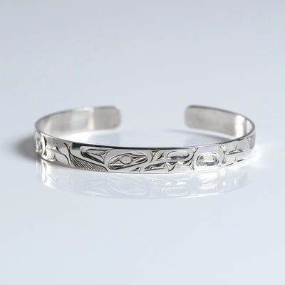 Silver Haida Wolf Bracelet Indigenous Canadian by James Sawyer from Crystal Cabin