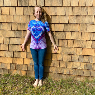 Tie dye heart shirt made locally in British Columbia, Canada. Sold by Crystal Cabin.