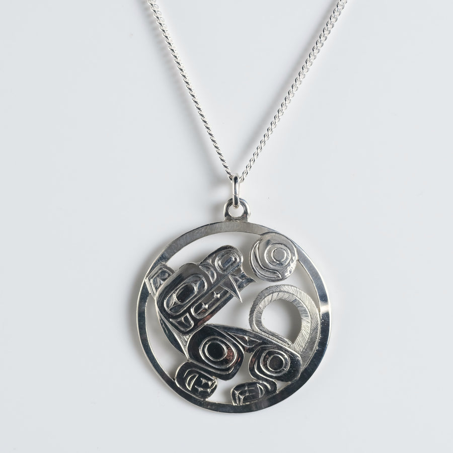 Sterling Silver Wolf Necklace Pendant by Haida Indigenous Northwest Coast Native artist Ding Hutchingson