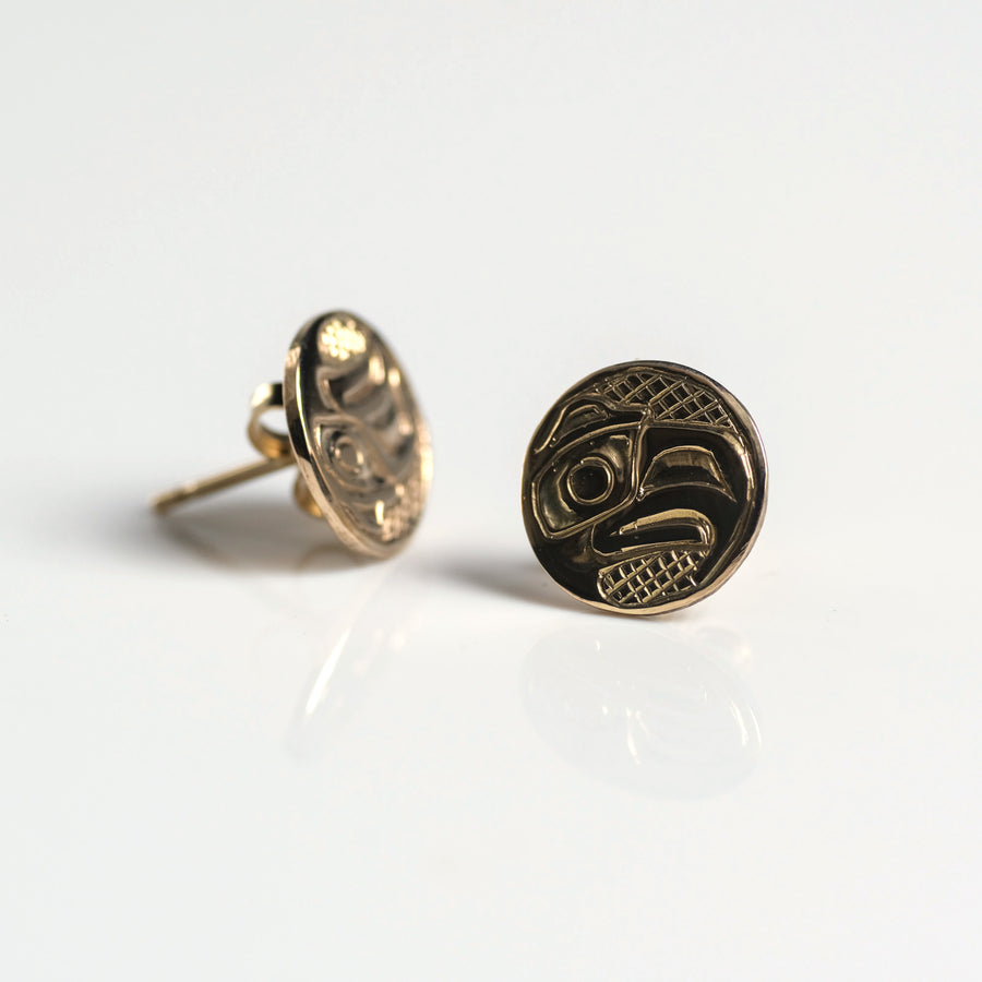 14K Yellow Gold Eagle Stud Earrings Handmade by Haida Indigenous Northwest Coast Native Canadian artist & carver Carmen Goertzen sold by Crystal Cabin.