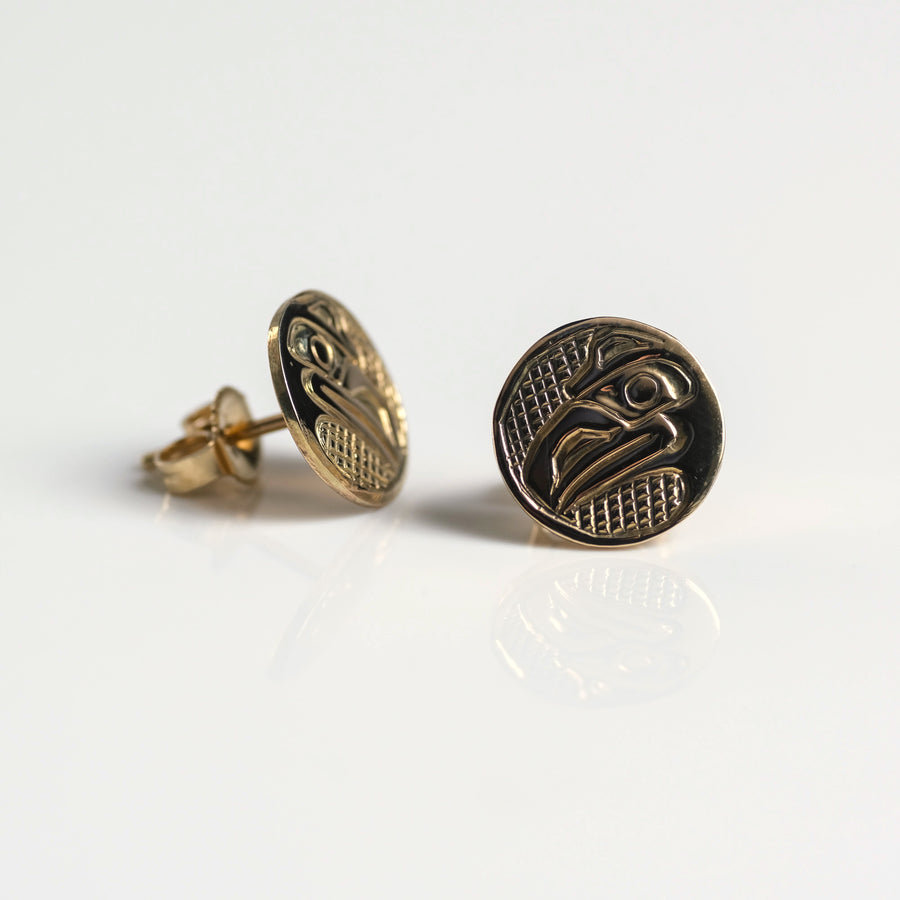 14K Yellow Gold Raven Stud Earrings Handmade by Haida Indigenous Northwest Coast Native Canadian artist & carver Carmen Goertzen sold by Crystal Cabin.