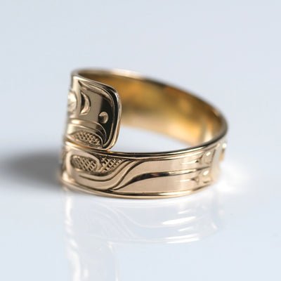 14K Yellow Gold Hand Carved Custom Eagle Wrap Ring by Haida Indigenous Canadian artist Ernest Swanson sold by Crystal Cabin.