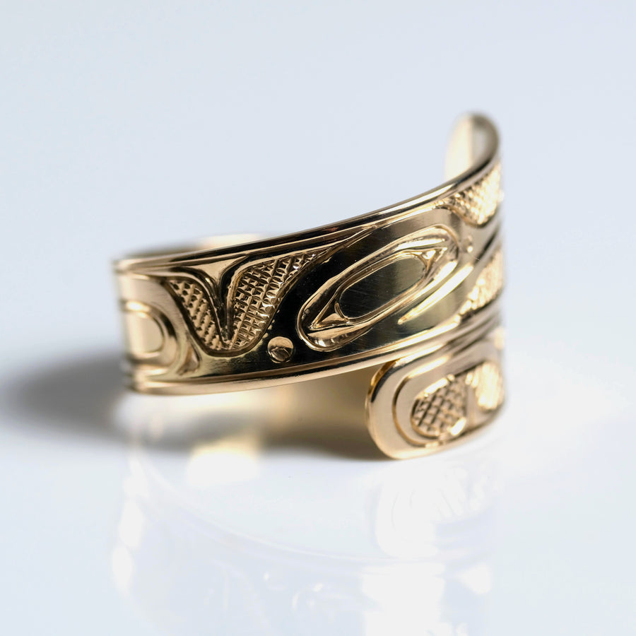 14K Yellow Gold Hand Carved Custom Hummingbird Wrap Ring by Haida Indigenous Canadian artist Ernest Swanson sold by Crystal Cabin.