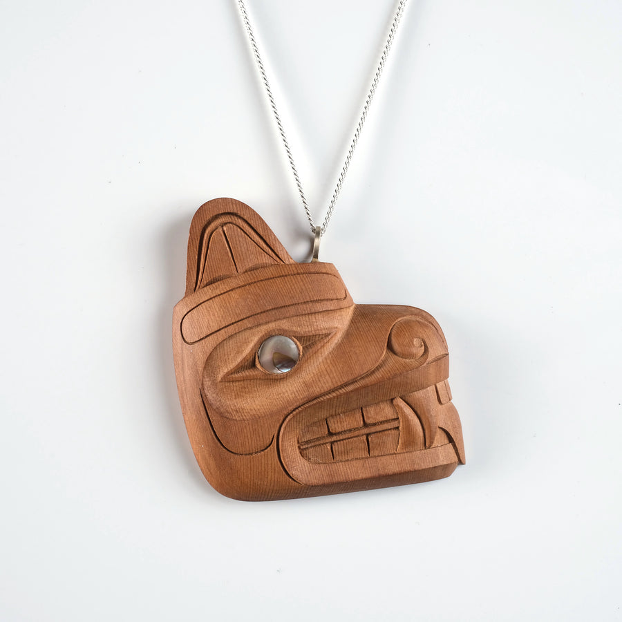Yew Wood Bear Necklace