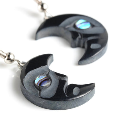 Haida Argillite Crescent Moon Earrings